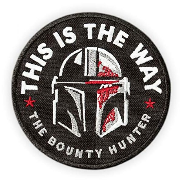 Embrosoft Airsoft Morale Patch 1 Bounty Hunter Round Patch - This is The Way Mandalorian - Star Wars TV Series Morale Emblem - Embroidered Iron On - Size: 3.5 x 3.5 inches