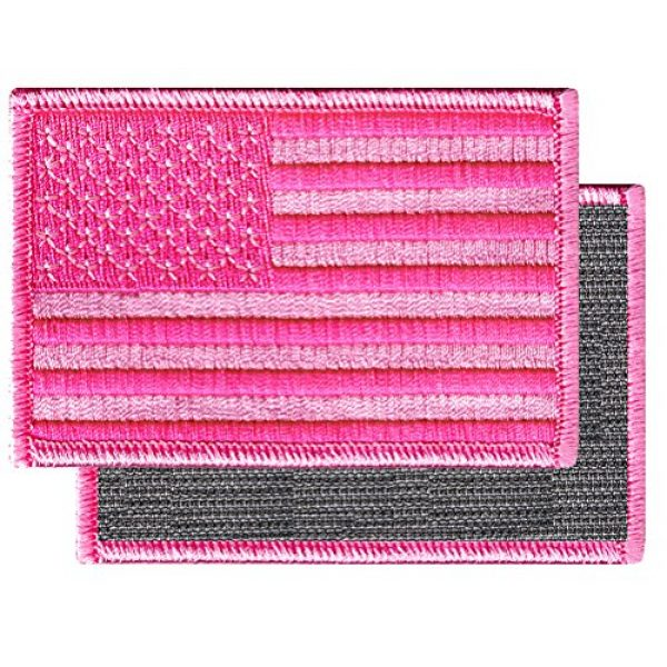 Cypress Collectibles Embroidered Patches Airsoft Morale Patch 2 American Flag Embroidered Tactical Patch All Pink w/Velcro Brand Fastener