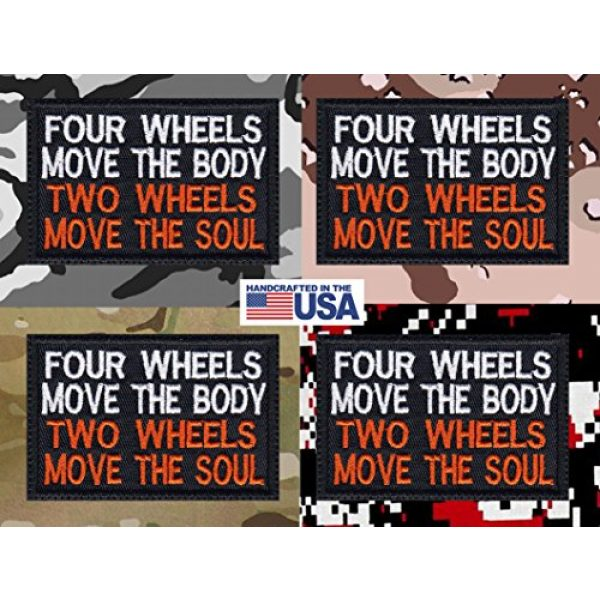 Tactical Patch Works Airsoft Morale Patch 4 4 Wheels Move The Body 2 Wheels Move The Soul Biker Motorcycle Patch