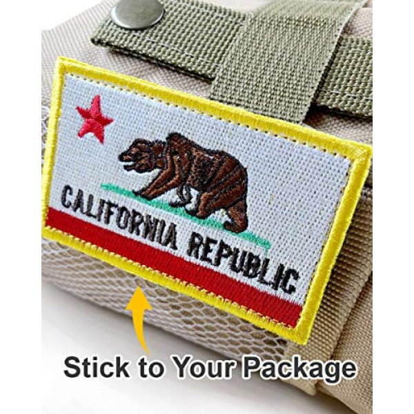 JumpyFire Airsoft Morale Patch 3 Bundle 2 Packs California Republic Flag Velcro Patch Badges, Personalized Military Patch Set, Fully 3D Embroidered Hook and Loop Morale Patches