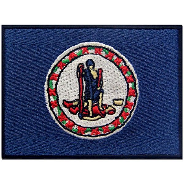 EmbTao Airsoft Morale Patch 1 Virginia State Flag Embroidered Emblem Iron On Sew On VA Patch