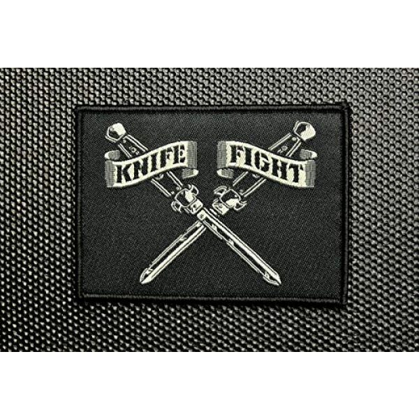 """BritKitUSA Airsoft Morale Patch 3 Knife Fight Woven Morale Patch Switchblade Hydro74 Rebel Without A Cause Hook & Loop Backing Sized 3.5"""" x 2.5"""""""
