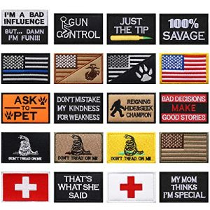 WILLBOND Airsoft Morale Patch 1 20 Pieces Tactical Embroidery Patch Funny Military Patch Embroidered Military Patch for DIY Caps Bags Vests Clothes Military Uniforms Decoration