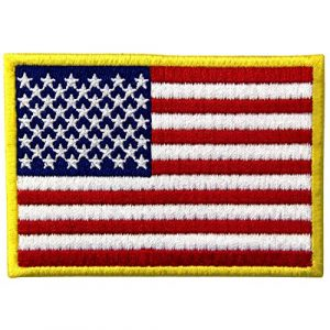 EmbTao Airsoft Morale Patch 1 American Flag Patches Embroidered Gold Border USA United States of America Military Uniform Fastener Hook & Loop Emblem