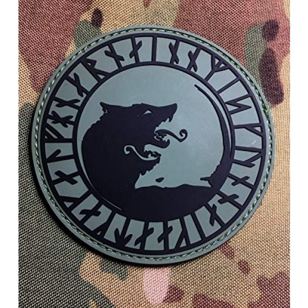 """Empire Tactical USA Airsoft Morale Patch 2 The OD Green Viking LFHNAR, NO Mercy, ONLY Violence Wolf Rune PVC 3.5"""" Tactical Morale Patch (Hook/Loop)"""