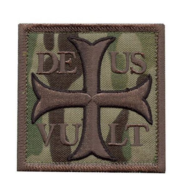 LEGEEON Airsoft Morale Patch 1 LEGEEON Multicam Deus Vult God Wills It Crusader Knight Holy Cross Templar Crusaders Morale Sew Iron on Patch