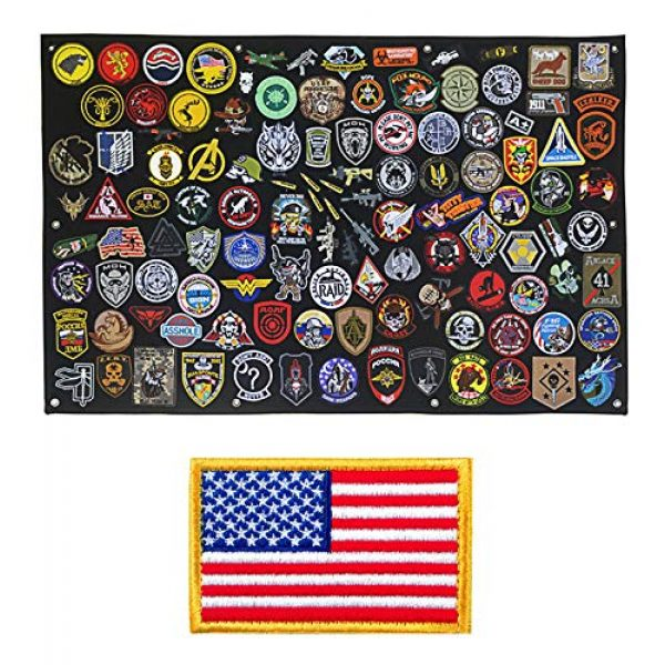 GOTAC Airsoft Morale Patch 1 Tactical Patch Display Holder Panel Board for Military Army Morale Hook and Loop Emblems, 43 Inches x 27.5 Inches, with 1 US Flag Patch Included
