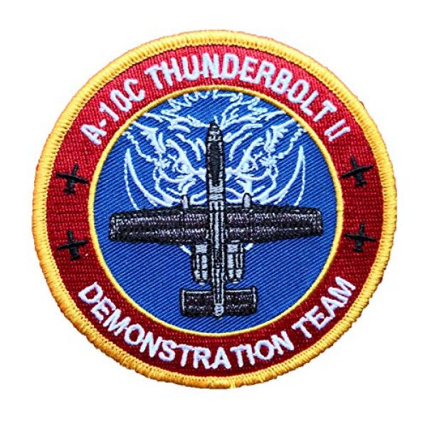 Generic Airsoft Morale Patch 1 A-10 Thunderbolt II Demo Team airsoft Ace Combat Military morale Patch Fabric Embroidered Badges Patch Tactical Stickers for Clothes with Hook & Loop