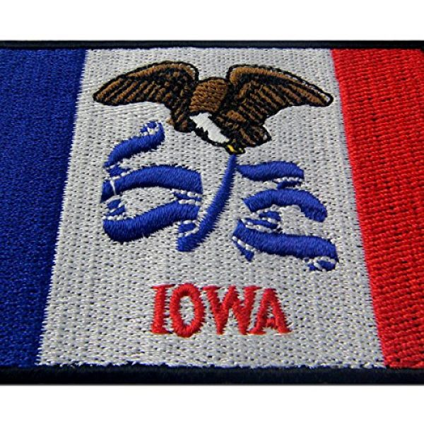 EmbTao Airsoft Morale Patch 2 Iowa State Flag Embroidered Emblem Iron On Sew On IA Patch