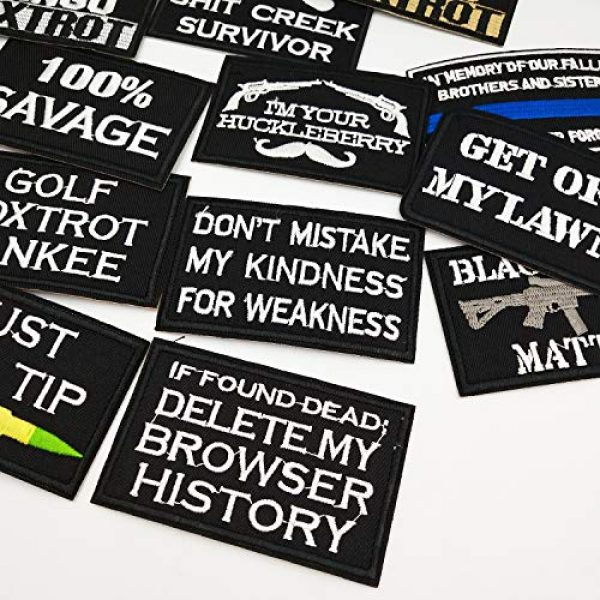 CZorange Airsoft Morale Patch 3 12 PCS Tactical Morale Iron on Patches Funny Military Embroidered Appliques Patch Set for Caps Bags Backpack Clothes Vest Military Uniforms