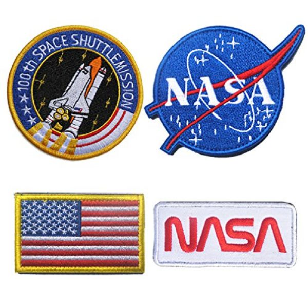 WZT Airsoft Morale Patch 1 WZT 4 Pcs Tactical Flag Patch - Combination USA NASA Patch Embroidered Morale Lot Military Embroidered Patches