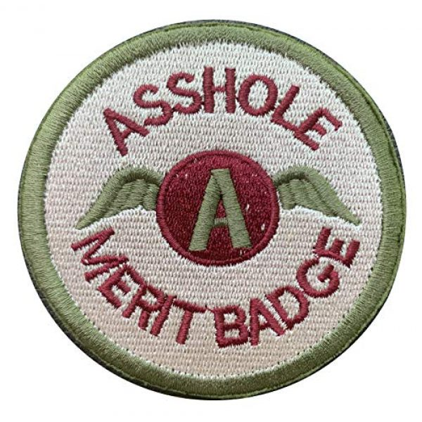 """Antrix Airsoft Morale Patch 1 Antrix Asshole Merit Badge Morale Patch Hook & Loop Asshole Military Tactical Patches-Dia 3.15"""" Not 2.5"""" (Green)"""