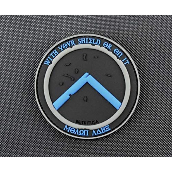 BritKitUSA Airsoft Morale Patch 1 BritKitUSA Thin Blue Line Molon Labe Shield 3D PVC Morale Patch Police TBL Hook Backing