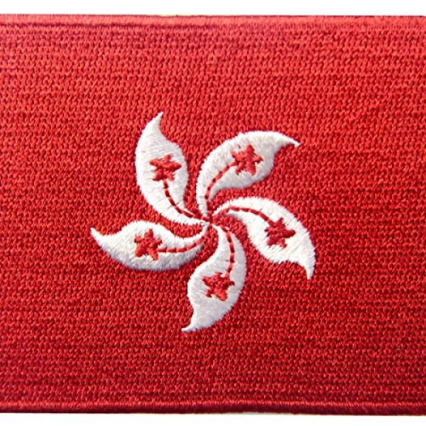 EmbTao Airsoft Morale Patch 2 Hong Kong Flag Embroidered Emblem Pearl of The Orient Iron On Sew On National Patch