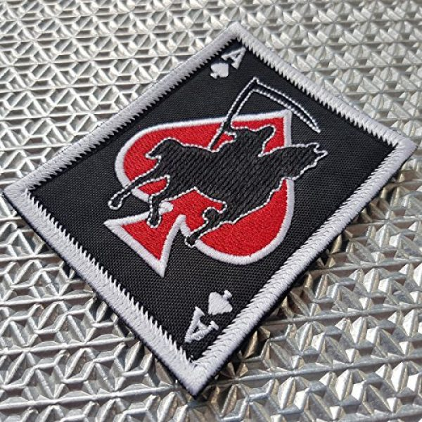 LEGEEON Airsoft Morale Patch 2 LEGEEON Ace of Spades Grim Reaper Death Card Morale Tactical Skull Skeleton Embroidery Sew Iron on Patch