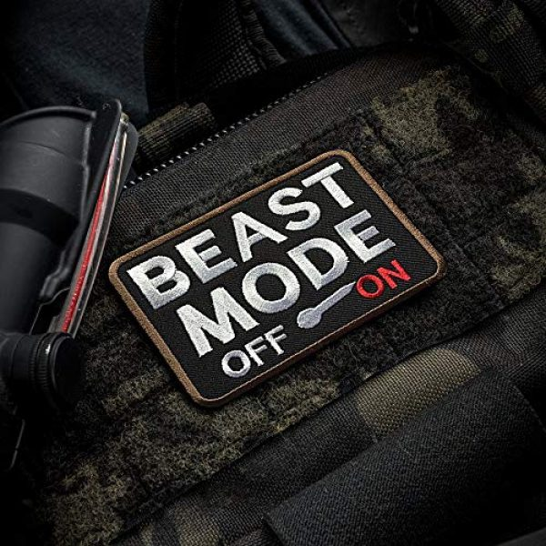 Ebateck Airsoft Morale Patch 3 Ebateck 2Pack Beast Mode Patch, 2.75-Inch-by-3.5-Inch, Tactical Patches for Backpacks with Hook Fastener