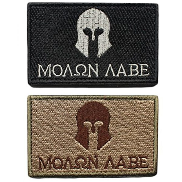 """CREATRILL Airsoft Morale Patch 1 Bundle 2 Pieces - Molon Labe Spartan Tactical Morale Patch with Backing Multitan Black White Decorative Embroidered Appliques 2"""" High By 3.2"""" Wide"""