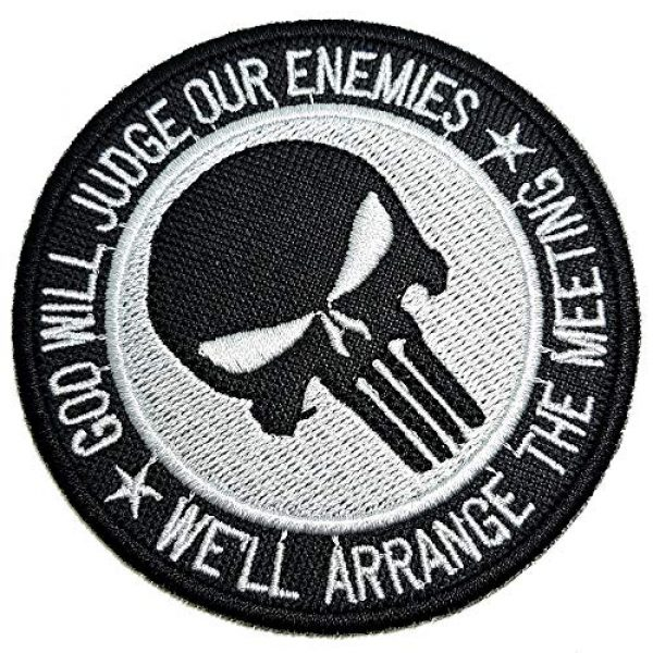 """BR44 Airsoft Morale Patch 1 M0055T 02 Skull""""God Will Judge Our Enemies"""" Military Morale Embroidered Patch Iron or Sew"""