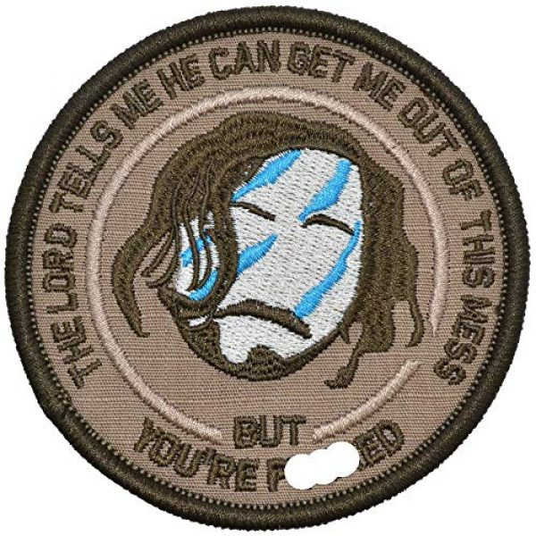 Tactical Gear Junkie Airsoft Morale Patch 1 The Lord Tells Me He Can Get Me Out of This Mess - 3.5 inch Round Patch - Coyote Brown