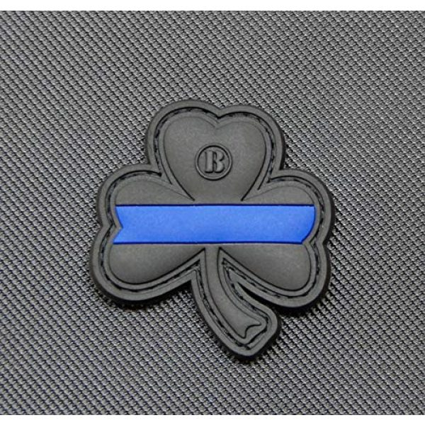 BritKitUSA Airsoft Morale Patch 1 BritKitUSA Thin Blue Line Clover PVC Morale Patch Hook Backing