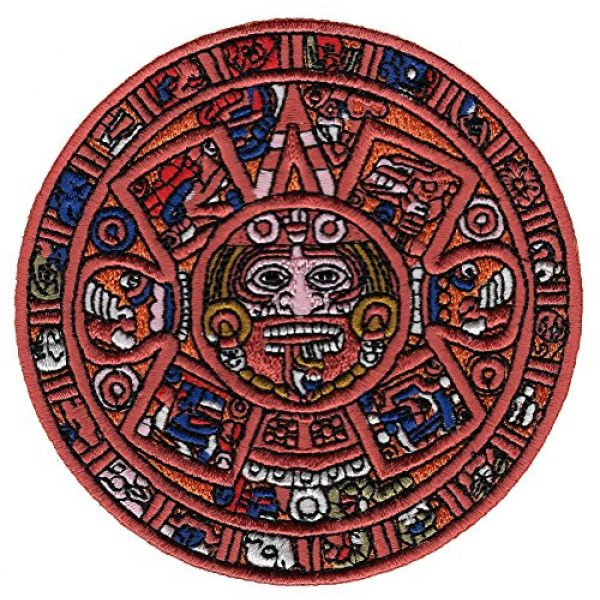 Cypress Collectibles Embroidered Patches Airsoft Morale Patch 1 Aztec Mayan Doomsday Calendar Iron-On Embroidered Piedra Del Sol Sun Stone Patch