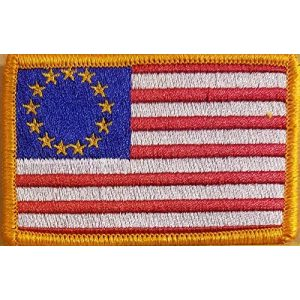 Fast Service Designs Airsoft Morale Patch 1 Betsy Ross Flag Embroidered Patch with Hook & Loop Tactical Morale Shoulder USA Patch Gold Border #8