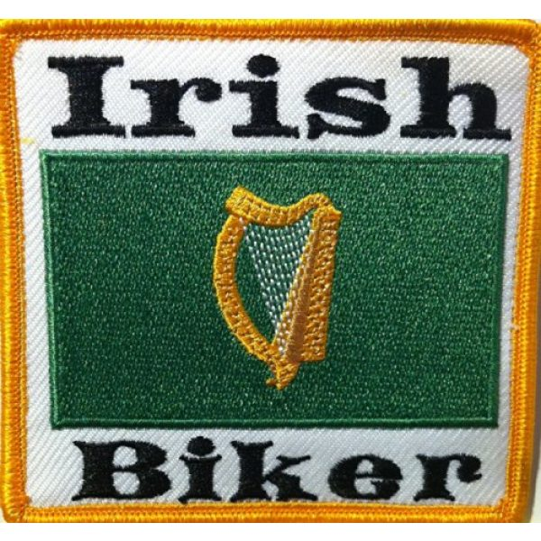 Fast Service Designs Airsoft Morale Patch 1 Irish Biker with Irish Flag Embroidered Iron-on Patch Morale Tactical MC Biker Emblem Gold Border