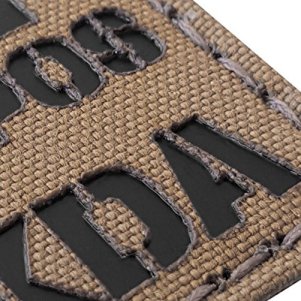 Tactical Freaky Airsoft Morale Patch 6 Coyote Brown Tan Infrared IR BNEG NKDA B- Blood Type 2x2 Tactical Morale Touch Fastener Patch