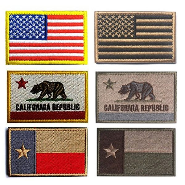 Antrix Airsoft Morale Patch 1 American US Tactical Patch, Antrix 6 Pack USA Flag California Flag Texas Flag Fully Embroidered Patches Tactical Badge Emblem Tags Patch
