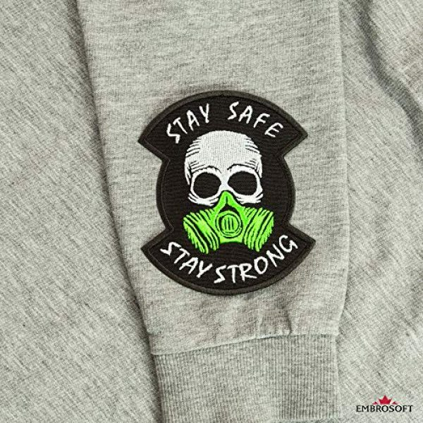 """Embrosoft Airsoft Morale Patch 3 Skull in a Gas mask Patch, Embroidered""""Stay Safe, Stay Strong"""" Morale Emblem, Size: 4.1 x 3.4 inches"""