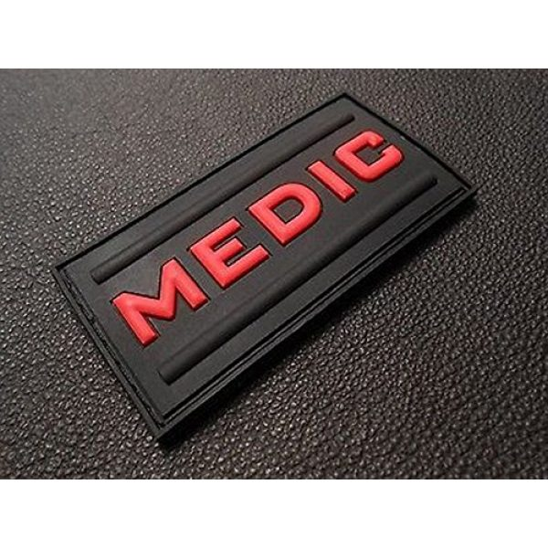 Kaben Airsoft Morale Patch 1 Medic Rubber 3d Pvc Paramedic Emt Ems Tactical Morale Black Ops Red Patch