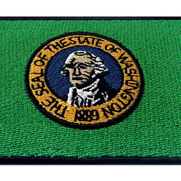 EmbTao Airsoft Morale Patch 2 Washington State Flag Embroidered Emblem Iron On Sew On WA Patch
