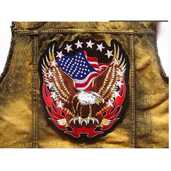 """TOOBIT Airsoft Morale Patch 2 Bald Eagle Patch Motorcycle Patch-7.7""""Patriotic USA Flag Eagle Jacket Embroidered Patch Iron On Patch Applique Clothes Jeans Sewing Flowers Applique"""