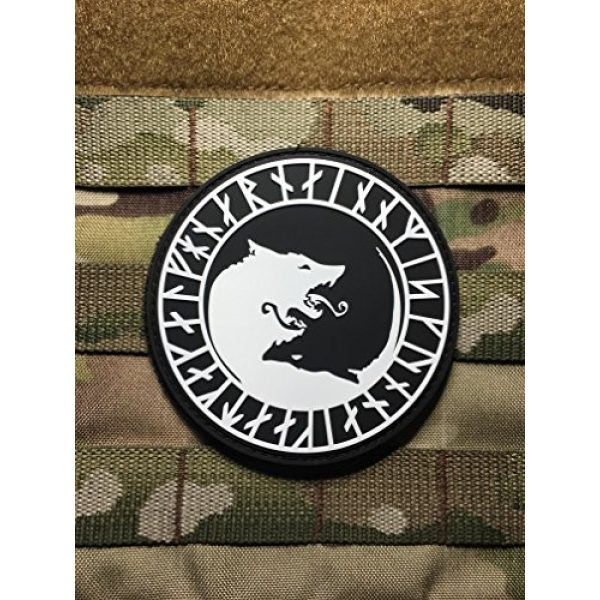 """Empire Tactical USA Airsoft Morale Patch 3 The Black Viking Berserker/Ulfhednar NO Mercy, ONLY Violence Wolf Rune PVC 3.5"""" Tactical Morale Patch (Hook/Loop)"""