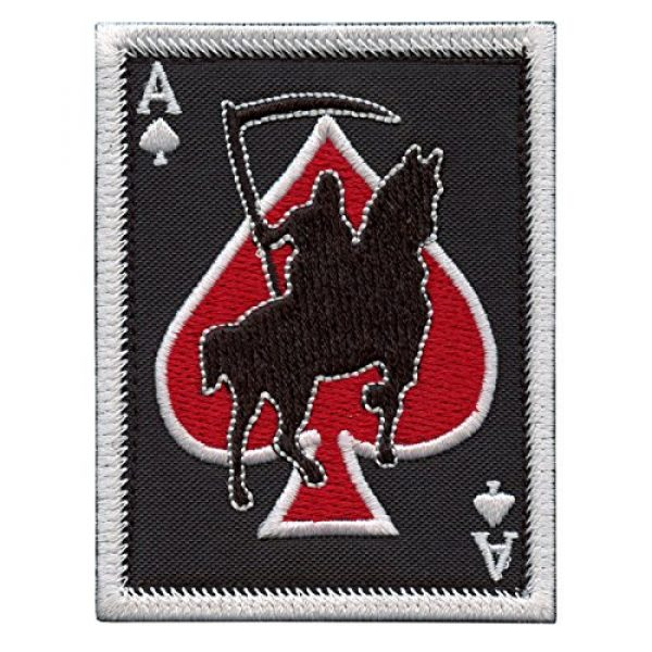 LEGEEON Airsoft Morale Patch 1 LEGEEON Ace of Spades Grim Reaper Death Card Morale Tactical Skull Skeleton Embroidery Sew Iron on Patch