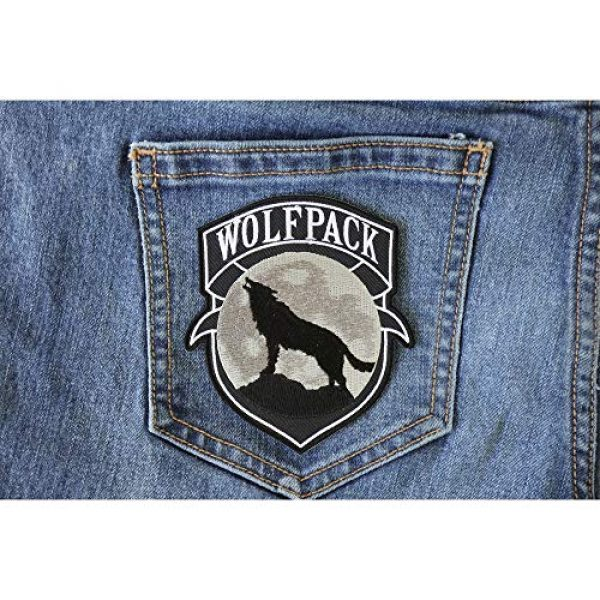 Ivamis Trading Airsoft Morale Patch 3 Wolfpack Patch Wolf Howling Moon Silhouette - 4x3.6 inch. Embroidered Iron on Patch