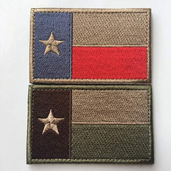"""Hng Kiang Hu Airsoft Morale Patch 2 Bundle 2 Pieces - Tactical American US Texas State Lonely Star Flag Patch Morale Patch-Hook & Loop Fastener Morale 2"""" High by 3"""" Wide"""