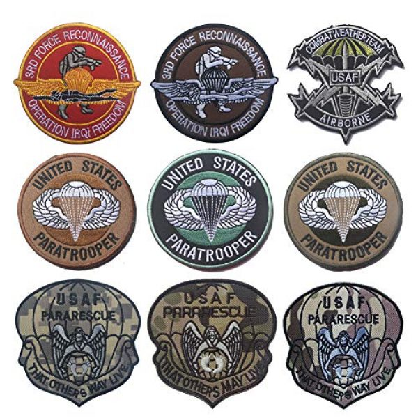 Zhikang68 Airsoft Morale Patch 1 US Air Force Patch USAF Emblem United States Paratrooper Tactical America Military Embroidered Morale Badges Applique for Coat Jacket Gear Cap Hat Backpack (Set 9)