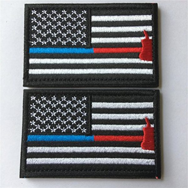 Hng Kiang Hu Airsoft Morale Patch 3 Bundle 2 Pieces Police Firefighter Axe USA Flag Thin Blue and Red Line Fully Embroidered Morale Tags Patch (Blue and Red Line)