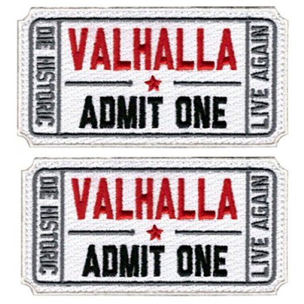 ZHG Airsoft Morale Patch 1 ZHG Bundle 2 PCS Embroidery Ticket to Valhalla Admit One Die Historic Live Again Military Tactical Morale Badge Patch (Velcro - White)