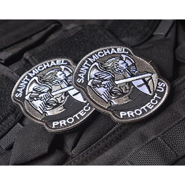 Zhikang68 Airsoft Morale Patch 5 Saint Michael Modern Morale Patch Tactical Military Army Embroidered Sew on Tags Operator Patches with Hook and Loop Fasteners Backing-Multitan
