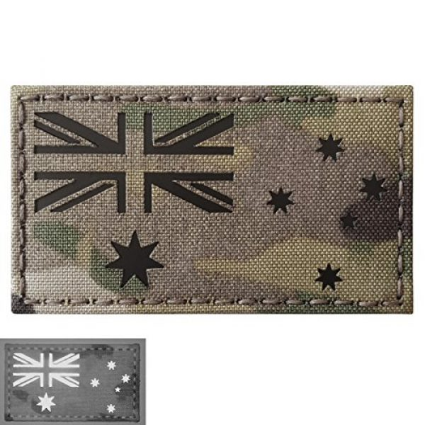 Tactical Freaky Airsoft Morale Patch 1 Australia Flag Multicam Infrared IR 3.5x2 IFF Tactical Morale Fastener Patch