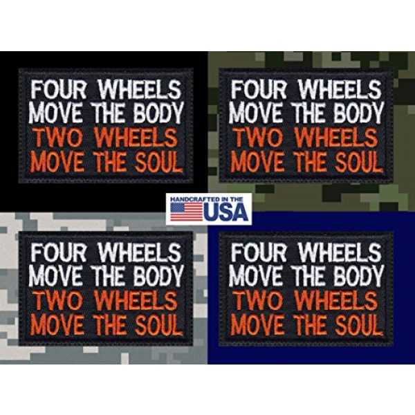 Tactical Patch Works Airsoft Morale Patch 3 4 Wheels Move The Body 2 Wheels Move The Soul Biker Motorcycle Patch