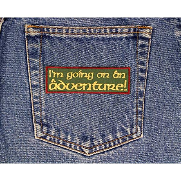 """Barefoot Sewing Airsoft Morale Patch 2 I'm Going on an Adventure Patch Iron On Applique - Olive Green, Burgundy, Nonmetallic Gold - 4"""" x 1.25"""" Rectangle - Made in The USA"""