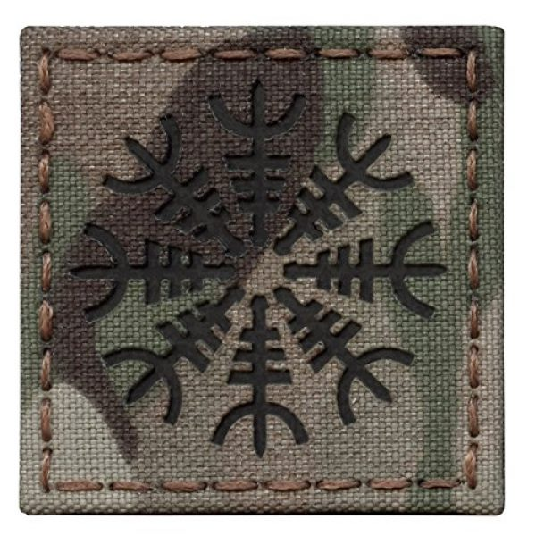 Tactical Freaky Airsoft Morale Patch 2 Multicam Infrared IR Aegishjalmur Helm of Awe Viking Norse 2x2 IFF Tactical Morale Hook&Loop Patch
