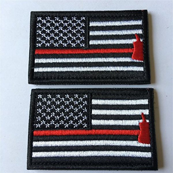 Hng Kiang Hu Airsoft Morale Patch 2 Bundle 2 Pieces American Flag Patch Thin Red Line US Firefighter Emergency Rescue