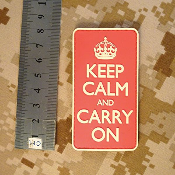 LEGEEON Airsoft Morale Patch 7 LEGEEON Keep Calm Carry On WW2 WWII Morale PVC 3D Hook&Loop Patch
