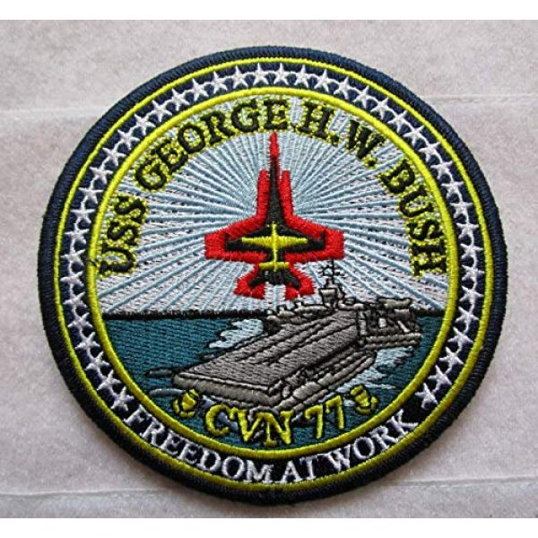 Embroidered Patch Airsoft Morale Patch 1 CVN-77 USS George Bush US Navy Aircraft Carrier Ship 3D Tactical Patch Military Embroidered Morale Tags Badge Embroidered Patch DIY Applique Shoulder Patch Embroidery Gift Patch