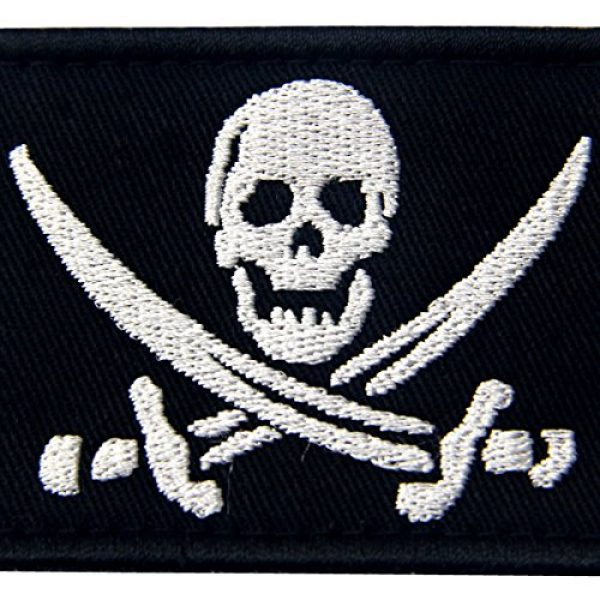 EmbTao Airsoft Morale Patch 2 Pirate Flag Military Morale Fastener Hook & Loop Patch - White & Black