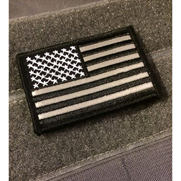 Empire Tactical USA Airsoft Morale Patch 2 American Made Reflective hook/loop Black and White American Flag Embroidered Morale baseball cap hat Patch, 3x2 In